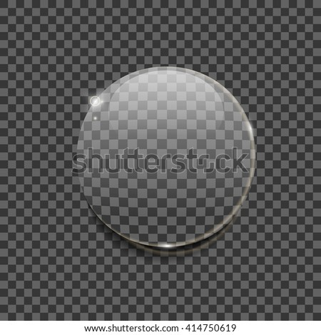 Simple realistic vector of transparent glossy bubble with reflections and shadows on transparent background