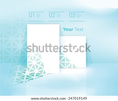 Simple Rectangle Shape A4 Page Elements Composition Covered With A Triangular Mosaic Texture On A Blue Sky Wallpaper/ Scalable EPS10 Vector  - stock vector