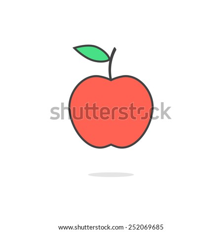 simple red apple icon with shadow. concept of vegetarian meal, healthy lifestyle, fertility, fructify, nature gifts. isolated on white background. flat style trendy modern design vector illustration - stock vector