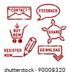 Simple red vector contact, feedback, share, buy, download, register stamps - stock vector
