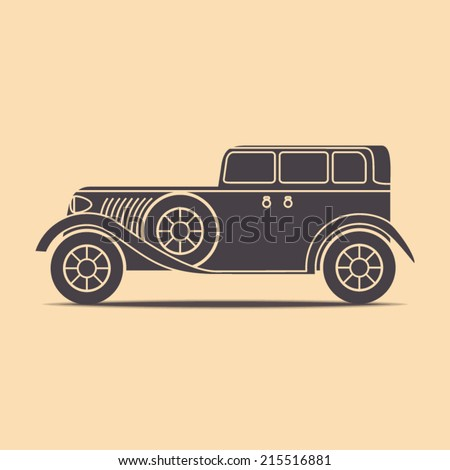 Simple retro car illustration made in vector in flat style - stock vector