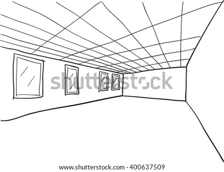Simple Room Perspective Doodle Sketch - stock vector