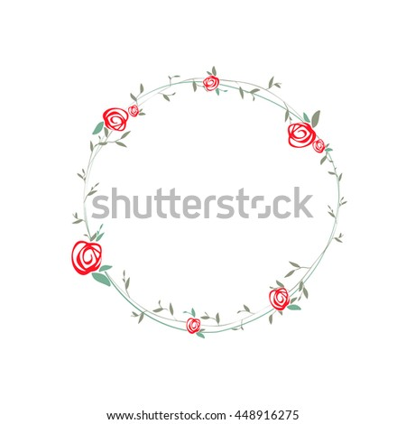 Simple Rose Round Wreath With Leaves Design, Copyspace - stock vector