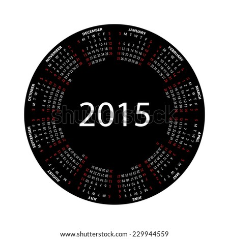 Simple round calendar for 2015 year on white background. Vector EPS10. - stock vector