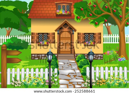 simple rustic house - stock vector