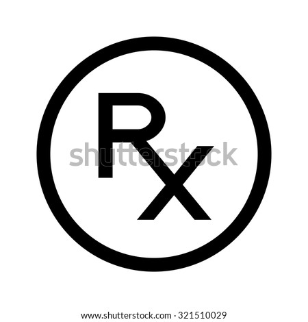 Simple Rx con. Rx sign as a symbol of prescription. Line icon, black and white. Rx in circle. - stock vector