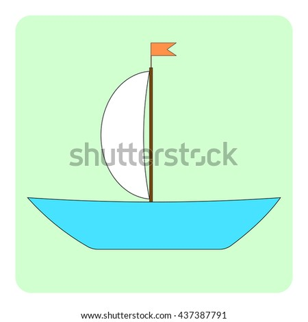 Simple sailboat on green background. Vector illustration.