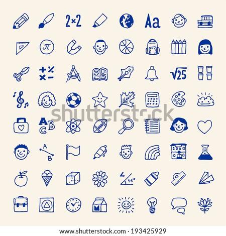Simple school icons set. Vector. Hand drawn.  - stock vector