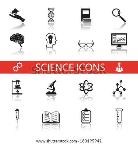 Simple Science and Research Icons Symbols Set Isolated with reflection vector - stock vector