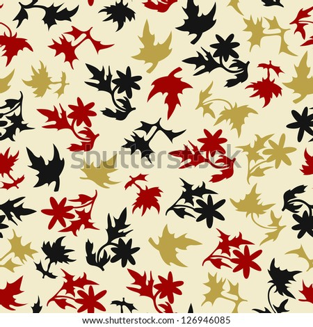 Simple Seamless Background Of Leaves - stock vector
