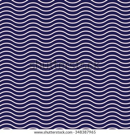 Simple seamless beauty waves background, pattern vector illustration. Dark blue color waves aqua. Summer, winter, spring waves background.  - stock vector