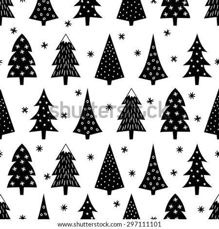 Simple seamless Christmas pattern - varied Xmas trees, stars, snowflakes. Black and white Happy New Year background. Vector design for winter holidays on white background. - stock vector