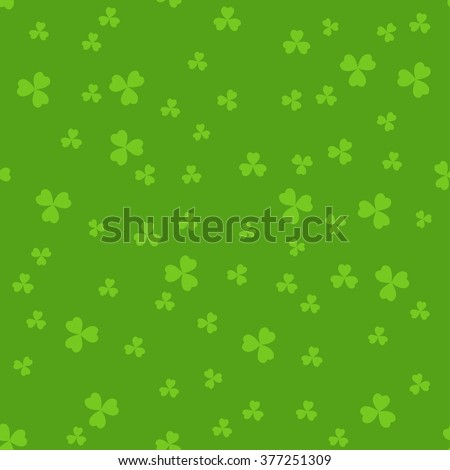Simple seamless green St. Patrick's day background with clover leaves. - stock vector