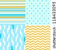 Simple seamless pattern in blue and yellow set, vector - stock vector