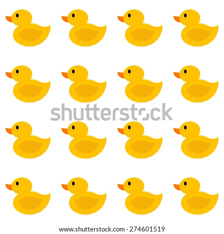 Simple seamless pattern with flat ducklings. - stock vector