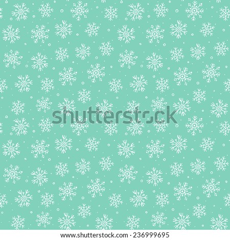 Simple seamless pattern with white snowflakes on green background. Can be used for wallpaper, pattern fills, textile, web page background, surface textures. Vector illustration.  - stock vector