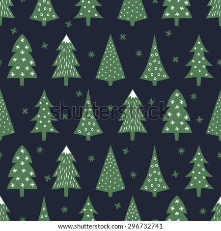 Simple seamless retro Christmas pattern - varied Xmas trees, stars and snowflakes. Happy New Year background. Vector design for winter holidays on dark blue background. Child drawing style trees. - stock vector