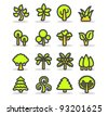 Simple series | Plants, leaves, trees icon set. - stock vector