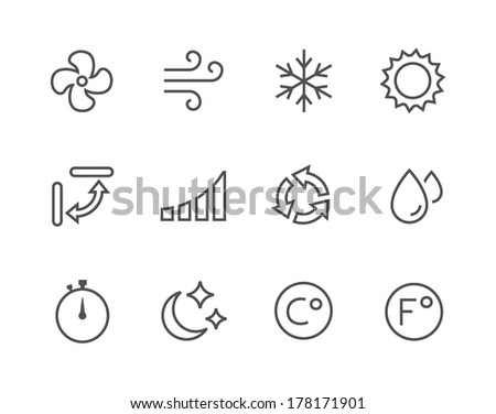 Simple set of air conditioning related vector icons for your design. - stock vector