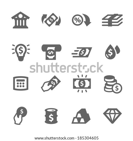 Simple set of banking related vector icons for your design - stock vector