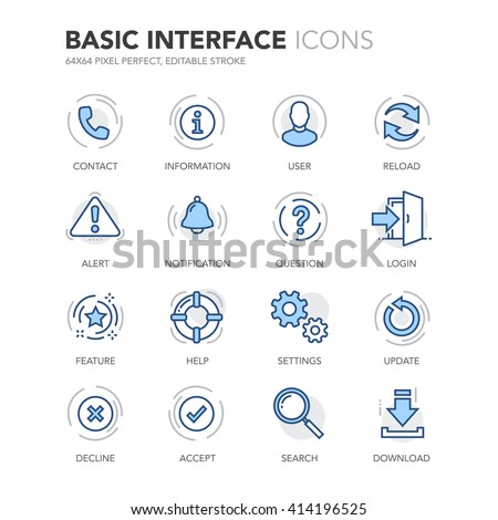 Simple Set of Basic Interface Related Color Vector Line Icons.  Contains such Icons as Contact, Info, Alert, Notification, Settings, User Profile and more. Editable Stroke. 64x64 Pixel Perfect.  - stock vector