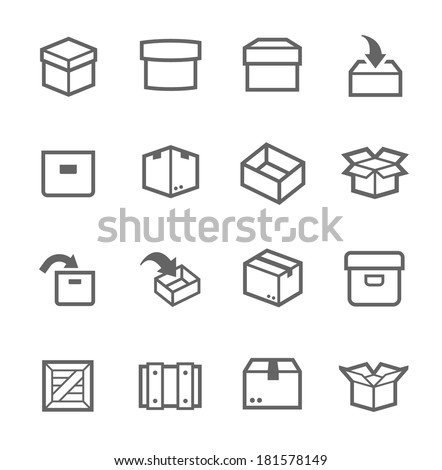 Simple set of box and crates related vector icons for your design - stock vector
