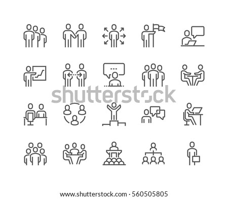 Simple Set of Business People Related Vector Line Icons.  Contains such Icons as One-on-One Meeting, Workplace, Business Communication, Team Structure and more. Editable Stroke. 48x48 Pixel Perfect.