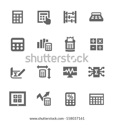 Simple set of calculation related vector icons for your design - stock vector