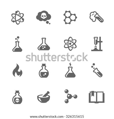Simple Set of Chemical Related Vector Icons for Your Design. - stock vector