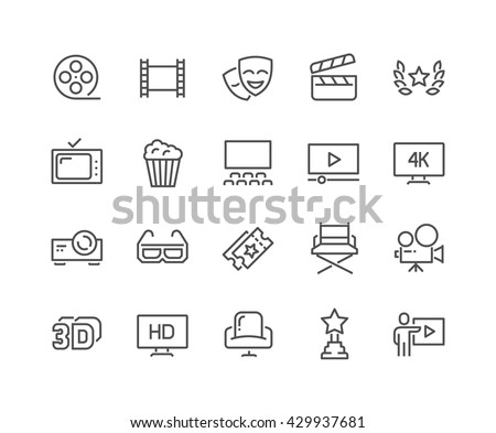Simple Set of Cinema Related Vector Line Icons.  Contains such Icons as Movie Theater, TV, Popcorn, Video Clip and more.  Editable Stroke. 48x48 Pixel Perfect.  - stock vector