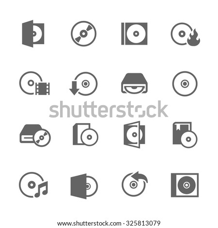 Simple Set of Compact Disk Related Vector Icons for Your Design. - stock vector