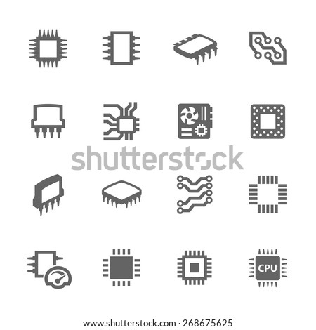 Simple Set of Computer Chips Related Vector Icons for Your Design. - stock vector