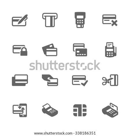Simple Set of Credit Cards Related Vector Icons. Contains such icons as payment, chip, security, transactions and more. Modern vector pictogram collection. - stock vector