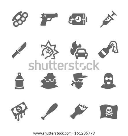 Simple set of crime related vector icons for your design. - stock vector