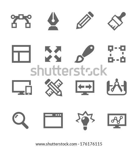 Simple set of design related vector icons for your site or application. - stock vector