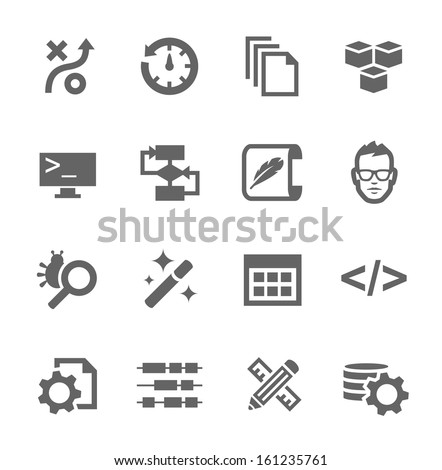Simple set of development related vector icons for your design. - stock vector