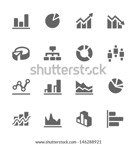 Simple set of diagram and graphs related vector icons for your design. - stock vector