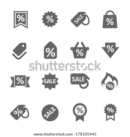 Simple set of discount tags related vector icons for your design - stock vector