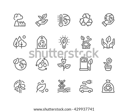 Simple Set of Eco Related Vector Line Icons.  Contains such Icons as Electric Car, Global Warming, Forest, Organic Farming and more.  Editable Stroke. 48x48 Pixel Perfect.