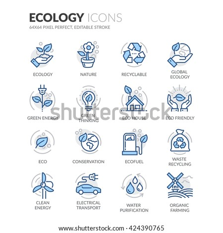 Simple Set of Ecology Related Color Vector Line Icons.  Contains such Icons as Recyclable, Eco House, Green Thinking and more.  Editable Stroke. 64x64 Pixel Perfect.  - stock vector