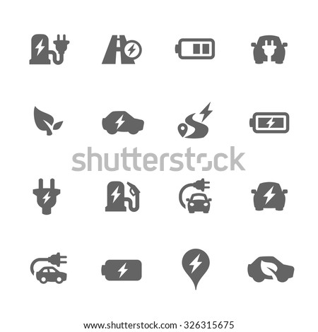 Simple Set of Electro-car Related Vector Icons for Your Design. - stock vector