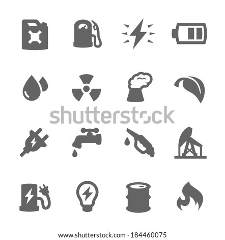 Simple set of energy related vector icons for your design - stock vector
