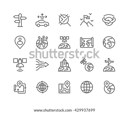 Simple Set of Global Navigation Related Vector Line Icons.  Contains such Icons as World Map, Branch Office, Business trip and more.  Editable Stroke. 48x48 Pixel Perfect.  - stock vector