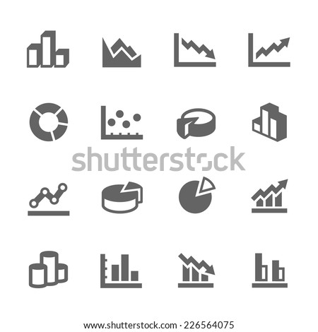 Simple Set of Graph Related Vector Icons for Your Design. - stock vector