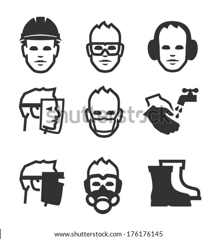 Simple set of job safety related vector icons for your design. - stock vector