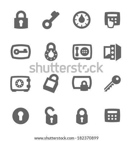 Simple set of keys and locks related vector icons for your design - stock vector