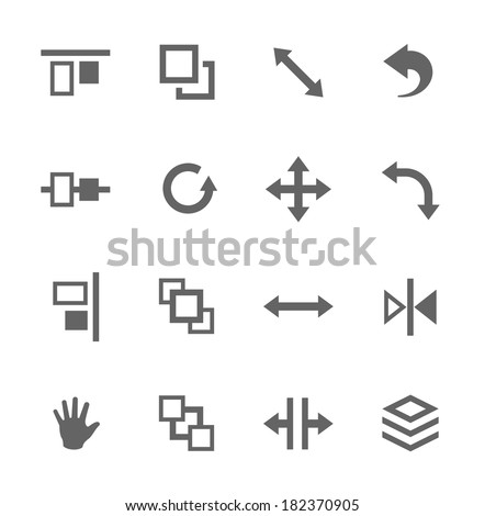 Simple set of layout related vector icons for your design - stock vector