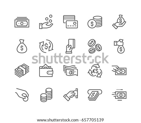 Simple Set of Money Related Vector Line Icons.  Contains such Icons as Wallet, ATM, Bundle of Money, Hand with a Coin and more. Editable Stroke. 48x48 Pixel Perfect.