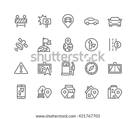 Simple Set of Navigation Related Vector Line Icons.  Contains such Icons as Road Works, Navigator, Direction, POI and more. Editable Stroke. 48x48 Pixel Perfect.