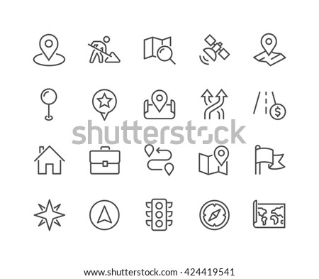 Simple Set of Navigation Related Vector Line Icons.  Contains such Icons as World Map, Office Location, Traffic Light, Compas and more.  Editable Stroke. 48x48 Pixel Perfect.  - stock vector
